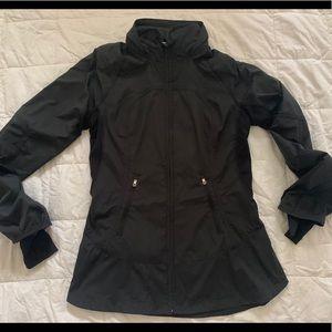 LULULEMON Black Zip Fitted Peplum Jacket w/Hood 6